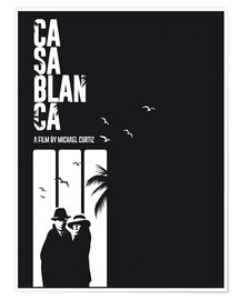 Golden Planet Prints - Casablanca classic movie inspired bw art print