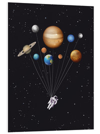 Golden Planet Prints - Space traveller solar system ballons art print
