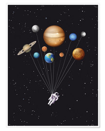 Premium poster Space traveler with planet balloons