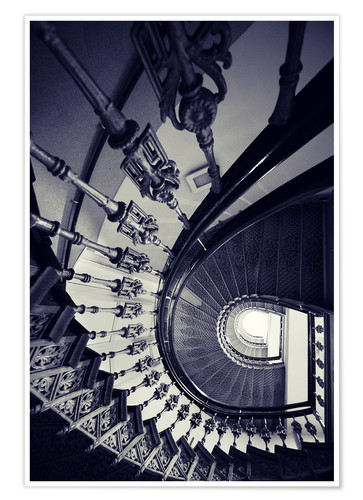 Premium poster Beautiful ornamented spiral staircase