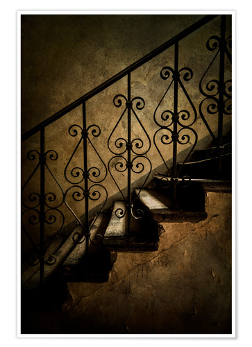 Premium poster Old staircase with ornamented handrail