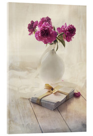 Acrylic print  Still life with pink peonies and love letters - Jaroslaw Blaminsky