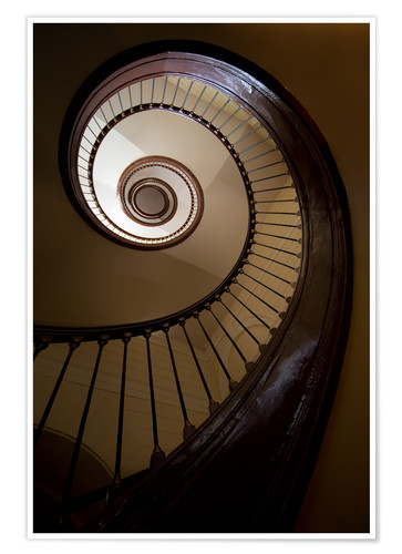 Poster Wooden and steel spiral staircase