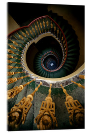 Acrylic glass  Ornamented spiral staircase in green and yellow - Jaroslaw Blaminsky