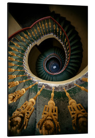 Alu-Dibond  Ornamented spiral staircase in green and yellow - Jaroslaw Blaminsky