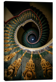 Canvas print  Ornamented spiral staircase in green and yellow - Jaroslaw Blaminsky