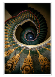 Poster Ornamented spiral staircase in green and yellow