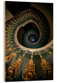 Wood  Ornamented spiral staircase in green and yellow - Jaroslaw Blaminsky