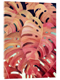 Acrylic print  Monstera love in magenta and coral - Micklyn Le Feuvre