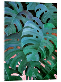 Acrylic glass  Monstera Love in Teal and Emerald Green - Micklyn Le Feuvre