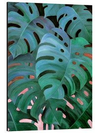 Aluminium print  Monstera Love in Teal and Emerald Green - Micklyn Le Feuvre