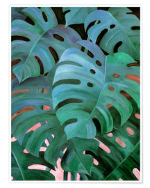 Premium poster Monstera Love in Teal and Emerald Green
