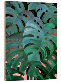 Wood print  Monstera Love in Teal and Emerald Green - Micklyn Le Feuvre