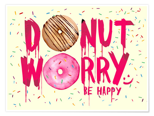 Premium poster Donut worry be happy sweet art