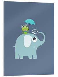 Acrylic print  One frog and one elephant - Jaysanstudio