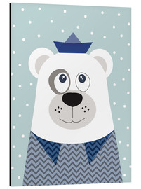 Aluminium print  Bear sailor nautical - Jaysanstudio