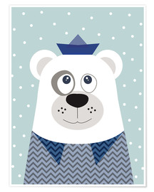 Premium poster  Bear sailor nautical - Jaysanstudio