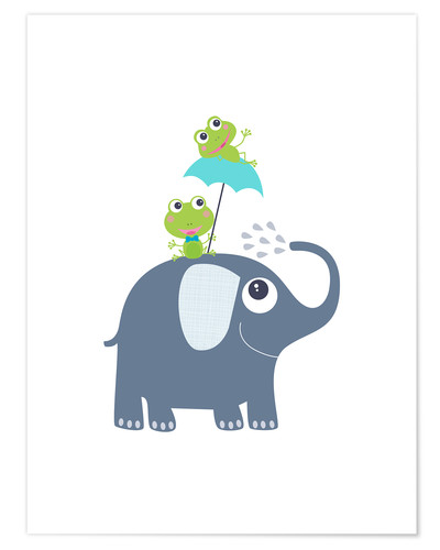 Premium poster Frogs and elephant