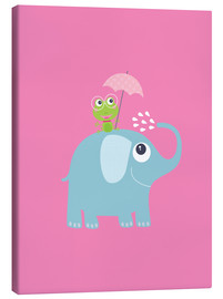 Canvas print  One frog and one elephant pink - Jaysanstudio