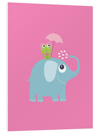 Foam board print  One frog and one elephant pink - Jaysanstudio