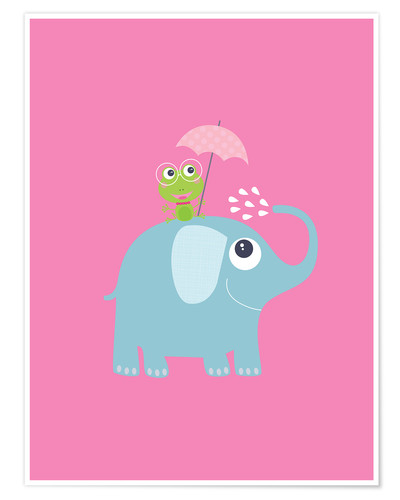 Premium poster One frog and one elephant pink