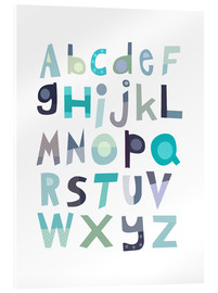 Acrylic glass  Blue Alphabet - Jaysanstudio