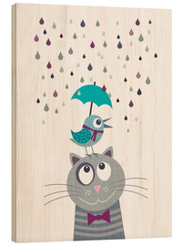 Wood print  Bird and cat love rainy day - Jaysanstudio
