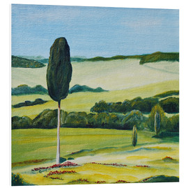 Foam board print  Lonely Cypress Tree on Terrapille Close to Pienza Tuscany - Christine Huwer