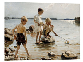 Acrylic print  Boys Playing on the Shore - Albert Edelfelt