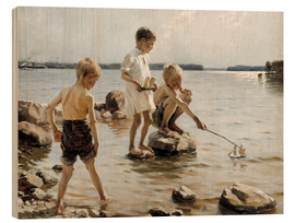 Wood print  Boys Playing on the Shore - Albert Edelfelt