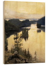 Wood print  Kaukola Ridge at Sunset - Albert Edelfelt