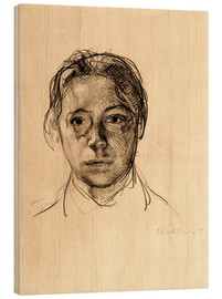 Wood  Käthe Kollwitz with loose hair - Käthe Kollwitz