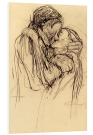 Foam board print  The kiss - Käthe Kollwitz