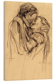 Wood print  The kiss - Käthe Kollwitz
