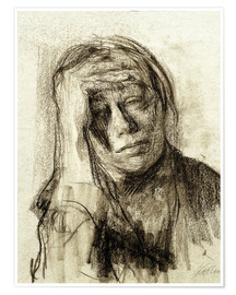Poster  Käthe Kollwitz with hand on forehead - Käthe Kollwitz