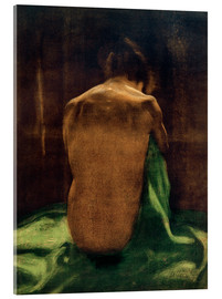 Acrylic glass  Female back on green cloth - Käthe Kollwitz