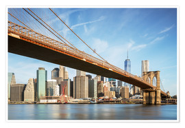 Premium poster Brooklyn bridge and Manhattan skyline at sunrise, New York city, USA