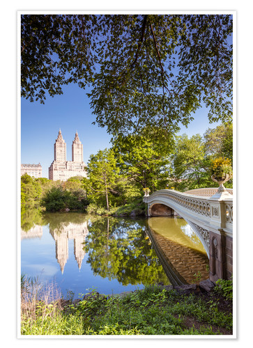 Premium poster Famous bow bridge in Central Park, New York city, USA