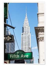 Premium poster Crysler building and Fifth avenue sign, New York city, USA