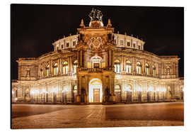Aluminium print  Saxon State Opera House in Dresden at night (Germany) - Christian Müringer