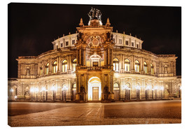 Canvas print  Saxon State Opera House in Dresden at night (Germany) - Christian Müringer