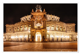 Poster Saxon State Opera House in Dresden at night (Germany)