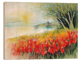 Wood print  Tulips blossoms in Ueberlingen on Lake Constance - Eckard Funck
