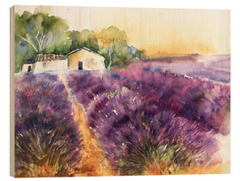 Wood print  Lavender field in Provence - Eckard Funck
