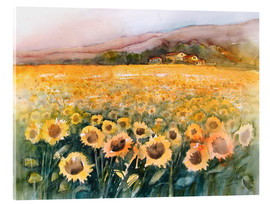 Acrylic print  Sunflower field in the Luberon, Provence - Eckard Funck