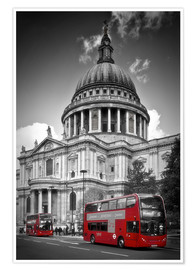 Premium poster LONDON St  Paul's Cathedral and Red Bus