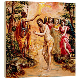 Wood print  Baptism of Christ - Dominikos Theotokopoulos (El Greco)