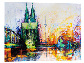 Acrylic glass  Cologne Cathedral Skyline colored - Renate Berghaus