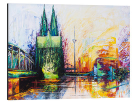 Aluminium print  Cologne Cathedral Skyline colored - Renate Berghaus