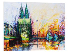 Foam board print  Cologne Cathedral Skyline colored - Renate Berghaus